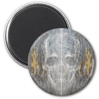 Sketchy Skull On Wood Magnet