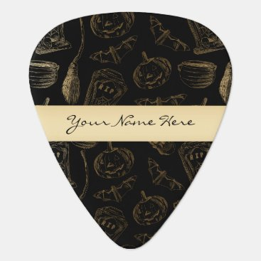 Halloween Themed Sketchy Spooky Gold on Black Halloween Guitar Pick