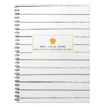 Sketchy Stripes Golden Apple Teacher Notebook
