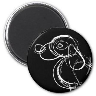 Sketchy White Dog Magnet