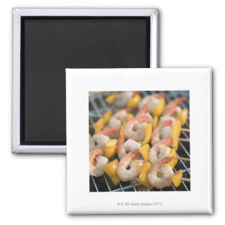 Skewer with grilled shrimps and pepper Sweden. 2 Inch Square Magnet