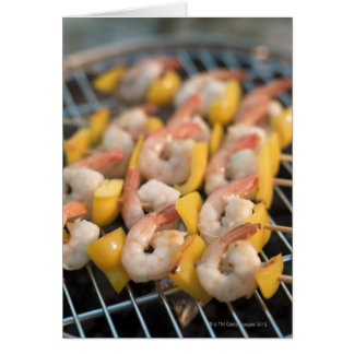 Skewer with grilled shrimps and pepper Sweden Greeting Card