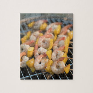 Skewer with grilled shrimps and pepper Sweden. Puzzle