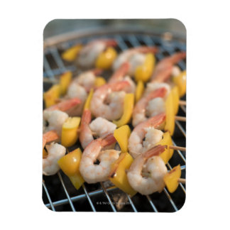 Skewer with grilled shrimps and pepper Sweden. Rectangular Photo Magnet