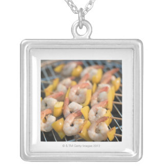 Skewer with grilled shrimps and pepper Sweden. Square Pendant Necklace