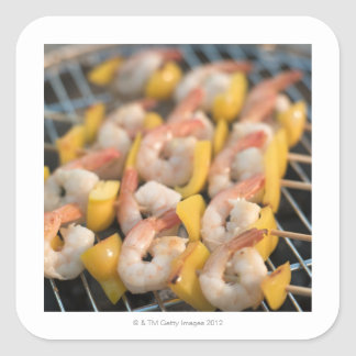 Skewer with grilled shrimps and pepper Sweden. Square Sticker