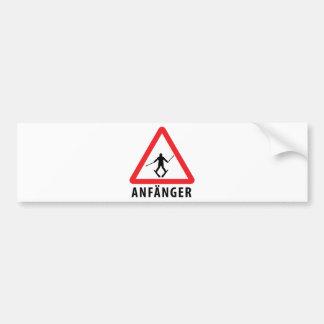 Ski Anfänger Warnschild icon Bumper Sticker