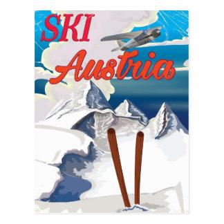 Ski Austria vintage travel poster Postcard
