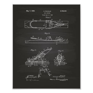 Ski Binding 1940 Patent Art - Chalkboard Poster