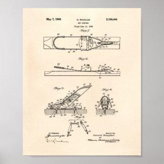 Ski Binding 1940 Patent Art - Old Peper Poster