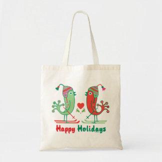 Ski Birds Happy Holidays Tote Bags