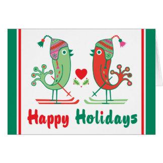 Ski Birds Happy Holidays Card
