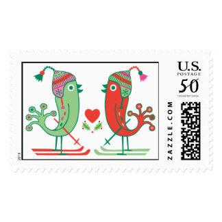 Ski birds Happy Holidays stamp