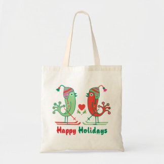 Ski Birds Happy Holidays Tote Bags