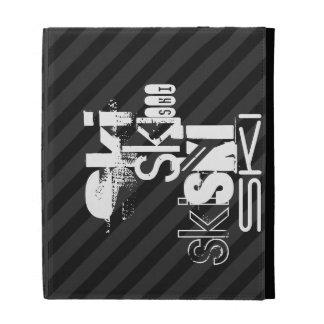 Ski; Black & Dark Gray Stripes iPad Cases