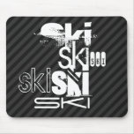 Ski; Black & Dark Gray Stripes Mouse Pad