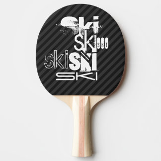 Ski; Black & Dark Gray Stripes Ping Pong Paddle