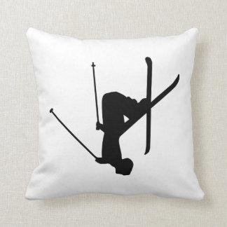 Ski Black Silhouette Pillow