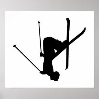 Ski Black Silhouette Poster