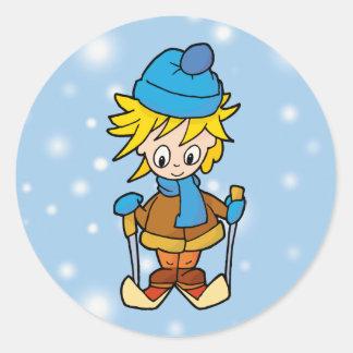 Ski boy classic round sticker