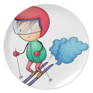 Ski boy dinner plate
