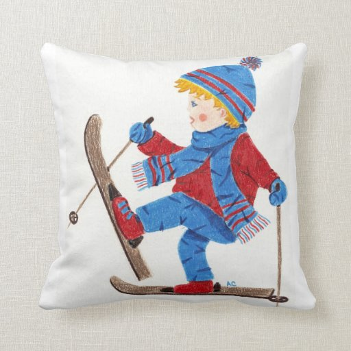 Throw Pillows Lagos : Ski boy throw pillow Zazzle