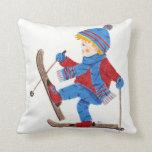 Ski boy throw pillow