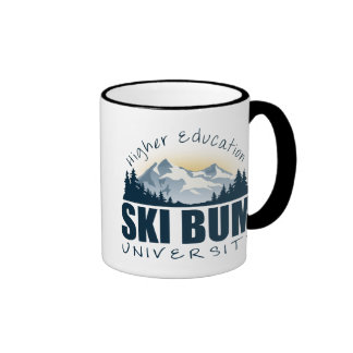 Ski Bum Drinking Vessel Ringer Coffee Mug