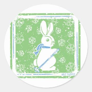 Ski Bunny Classic Round Sticker