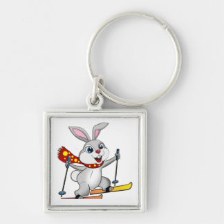 Ski Bunny - Funny and Cute Cartoon Silver-Colored Square Keychain