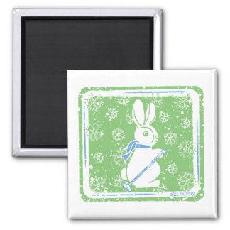 Ski Bunny 2 Inch Square Magnet