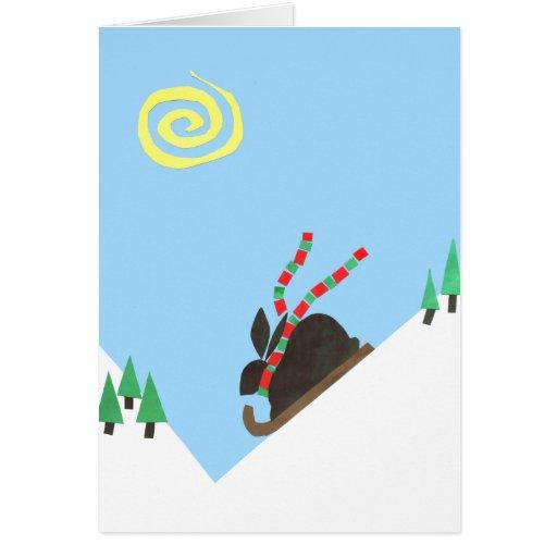 Ski Bunny plain Greeting Card