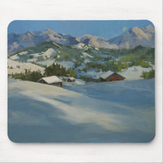 Ski Cabins in the Mountains Mouse Pads