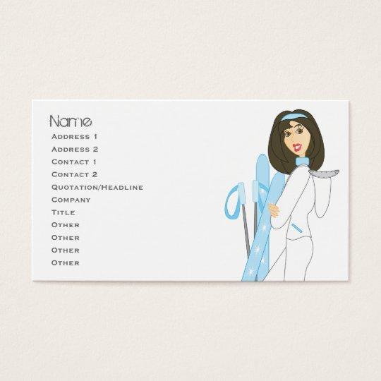 Ski Cards-Brunette Business Card