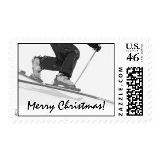 Ski Christmas Postage Stamps