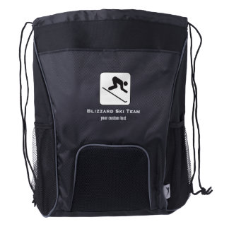 Ski Club Ski Team Custom Downhill Alpine Skiing Drawstring Backpack