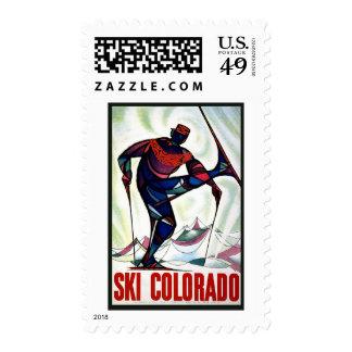 Ski Colorado Vintage Travel Postage Stamps