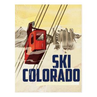 Ski! Colorado vintage travel poster Postcard