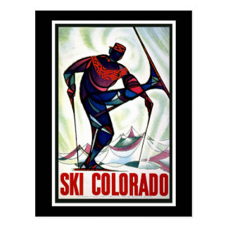 """Ski Colorado"" Vintage Travel Poster Postcard"