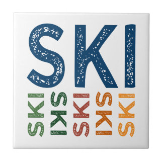 Ski Cute Colorful Ceramic Tile