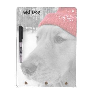 Ski Dog Golden Retriever Color Dry Erase Board