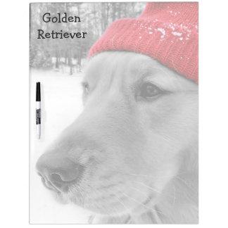 Ski Dog Golden Retriever Large Dry Erase Board