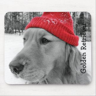 Ski Dog Golden Retriever Mouse Pad