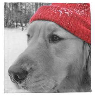 Ski Dog Golden Retriever Napkin