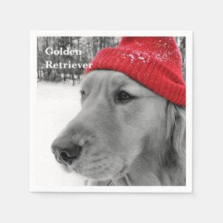 Ski Dog Golden Retriever Disposable Napkin