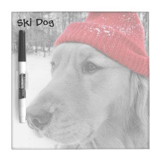 Ski Dog Golden Retriever Square Dry Erase Board