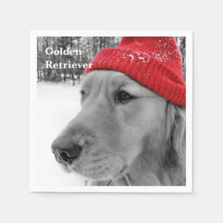 Ski Dog Golden Retriever Standard Cocktail Napkin