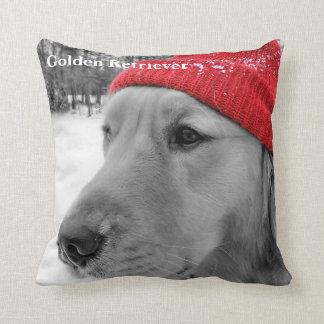 Ski Dog Golden Retriever Throw Pillow