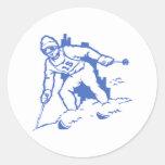 Ski fahren skiing runde aufkleber