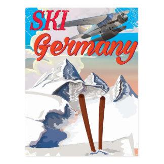 Ski Germany vintage travel poster Postcard